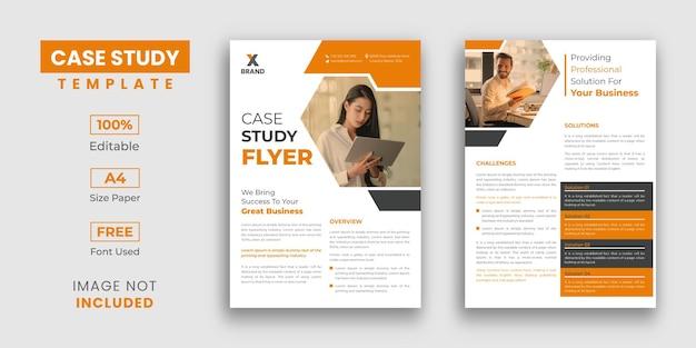 Modelo de design de folheto de estudo de caso