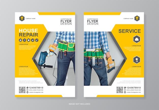 Modelo de design de folheto de ferramentas de construção corporativa