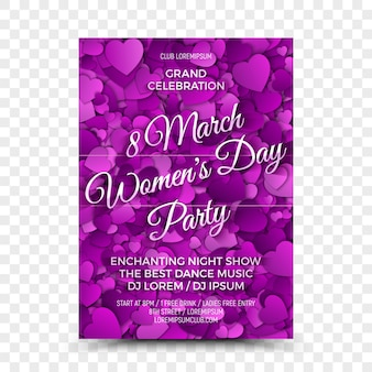 Modelo de design de folheto de festa do dia das mulheres