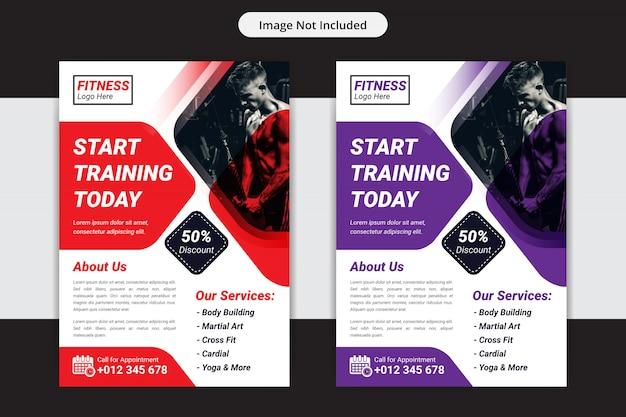 Modelo de design de folheto de ginásio ou fitness