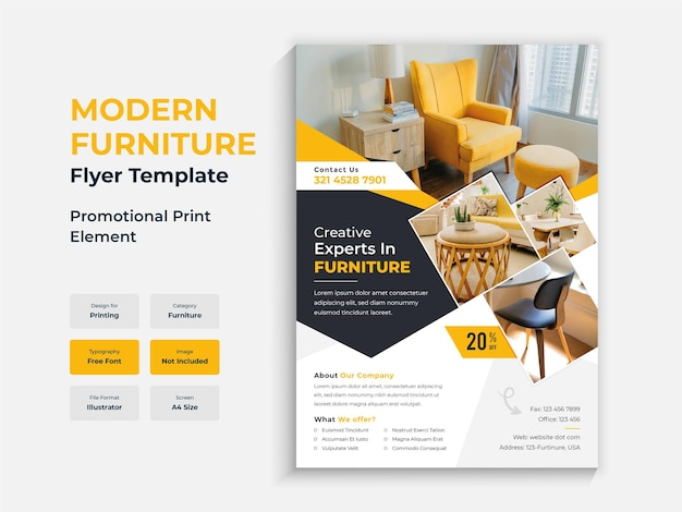 Modelo de design de folheto de móveis de interior moderno