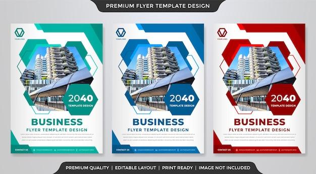 Modelo de design de folheto de negócios com estilo abstrato