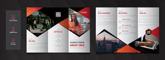 Modelo de design de folheto de negócios corporativos com três dobras