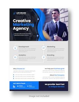Modelo de design de folheto de negócios modernos corporativos de marketing digital com cor azul
