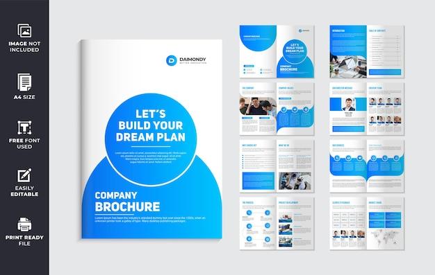 Modelo de design de folheto de perfil da empresa com formas de cor azul