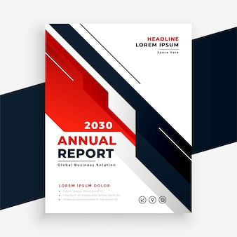 Modelo de design de folheto de relatório anual de negócios em vermelho geométrico