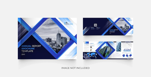 Modelo de design de folheto de relatório anual moderno da paisagem