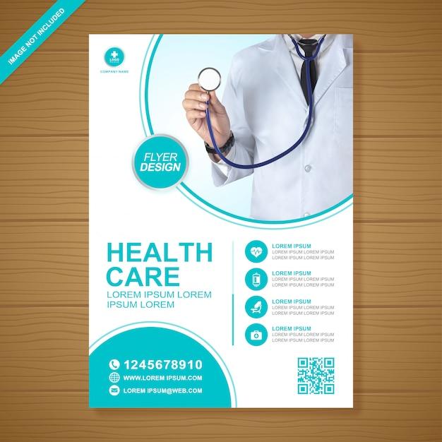 Modelo de design de folheto de saúde e médicos