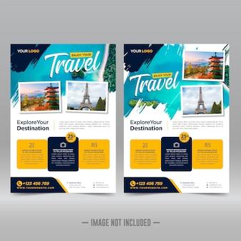 Modelo de design de folheto de viagem