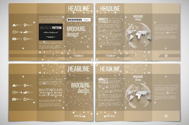 Modelo de design de folheto dobrável em três partes