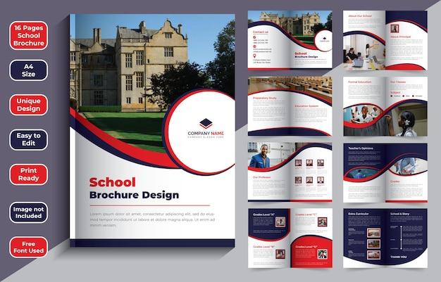 Modelo de design de folheto escolar de 16 páginas