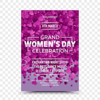 Modelo de design de folheto - grande celebração do dia das mulheres