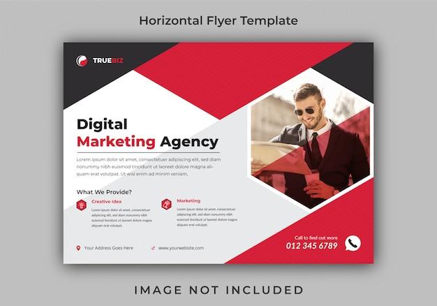 Modelo de design de folheto horizontal corporativo ou comercial