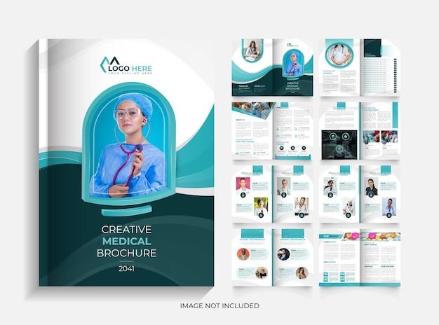 Modelo de design de folheto médico moderno criativo de 16 páginas