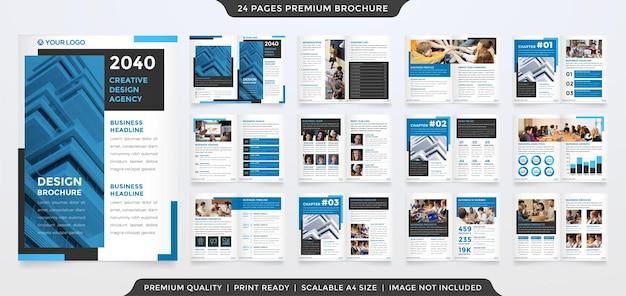 Modelo de design de folheto multifuncional com estilo minimalista e premium