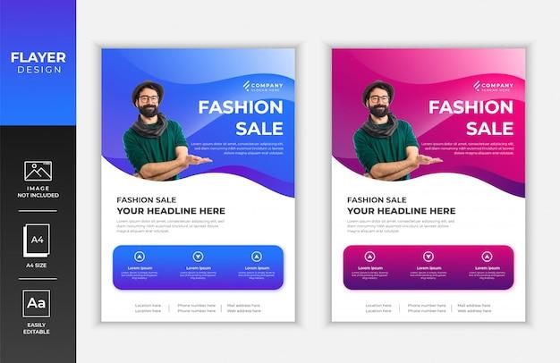 Modelo de design de folheto promocional de venda de moda moderna gradiente azul e rosa