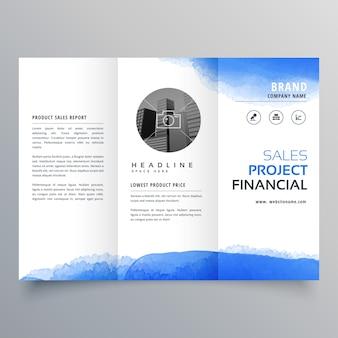 Modelo de design de folheto triplicado de aquarela azul