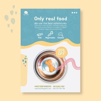 Modelo de design de folheto vertical de comida animal