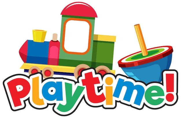Modelo de design de fonte para o tempo de brincar com muitos brinquedos