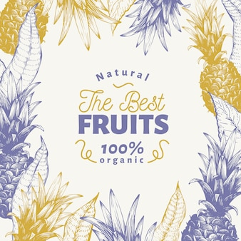 Modelo de design de fruta abacaxi. ilustração tirada mão da fruta do vetor. fundo tropical retro gravado do estilo.