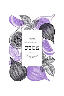 Modelo de design de frutas de figo desenhado à mão