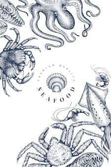 Modelo de design de frutos do mar. mão desenhada ilustração em vetor frutos do mar