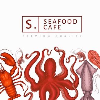 Modelo de design de frutos do mar. mão-extraídas ilustração vetorial de frutos do mar. bandeira de comida de estilo gravado. fundo retrô de animais marinhos
