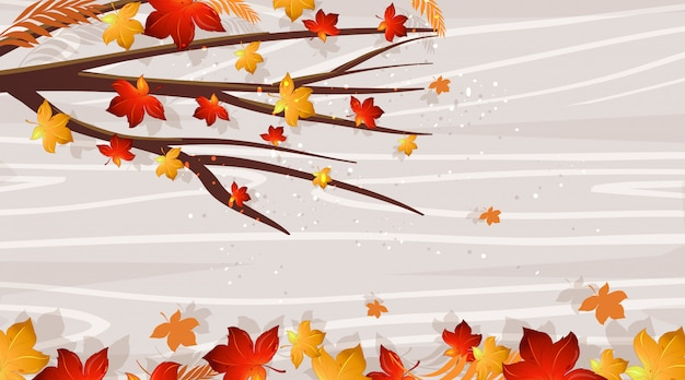 Modelo de design de fundo com folhas caindo