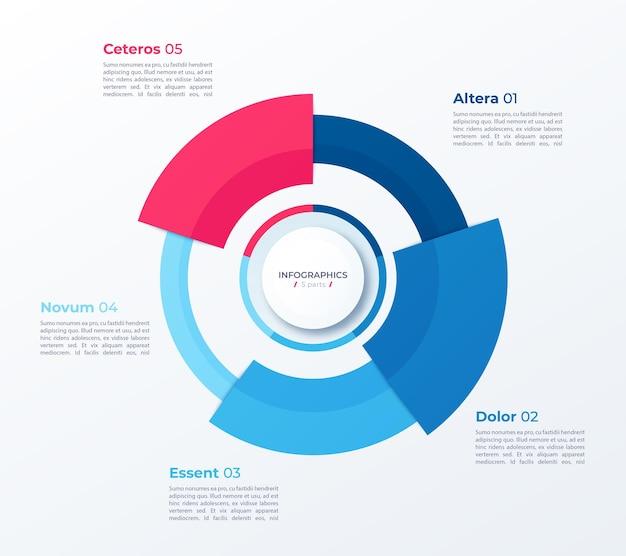 Modelo de design de gráfico circular para infográficos