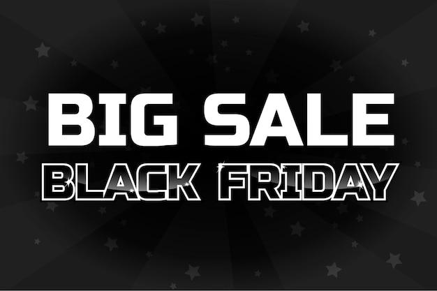 Modelo de design de grande venda, inscrição de sexta-feira negra em fundo preto. pôster de vetor
