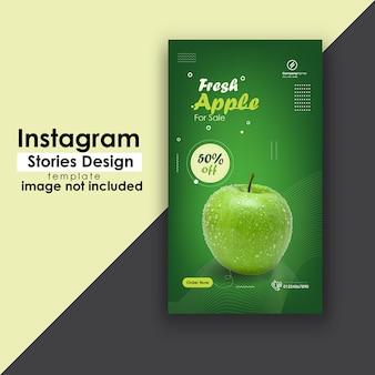 Modelo de design de história do instagram de frutas