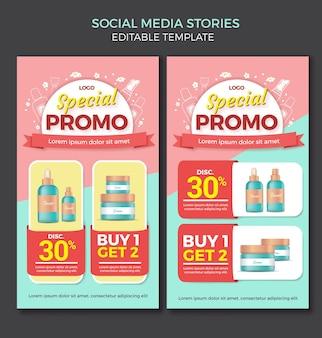 Modelo de design de histórias em mídias sociais pastel de produto de beleza editável com doodle