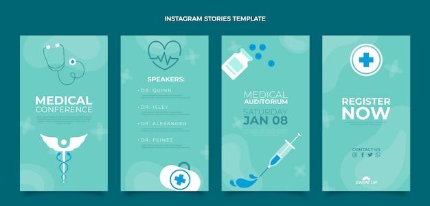 Modelo de design de histórias ig médicas planas