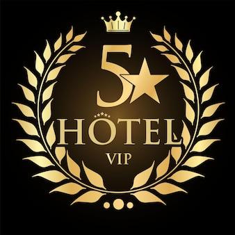 Modelo de design de hotel cinco estrelas com coroa de louros dourada