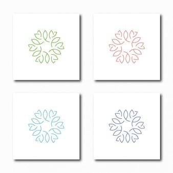 Modelo de design de ícone abstrato floral logotipo