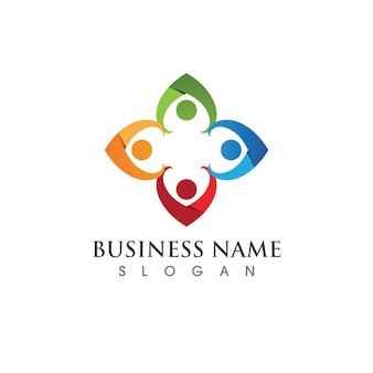 Modelo de design de ícone de comunidade, rede e social Vetor Premium