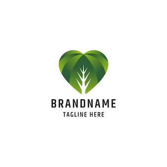 Modelo de design de ícone de logotipo de amor de folha colorida abstrata