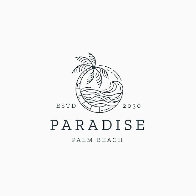 Modelo de design de ícone de logotipo de praia vetor plana