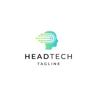 Modelo de design de ícone de logotipo de tecnologia de cabeça humana plana vetor