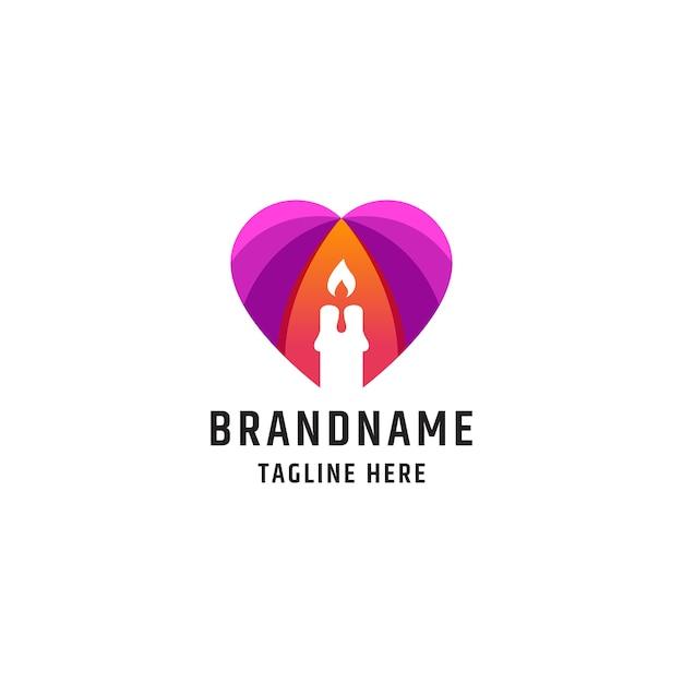 Modelo de design de ícone de logotipo de vela colorida do amor