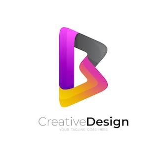 Modelo de design de ícone de logotipo letra b, estilo 3d