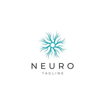Modelo de design de ícone de logotipo neuro vetor plana
