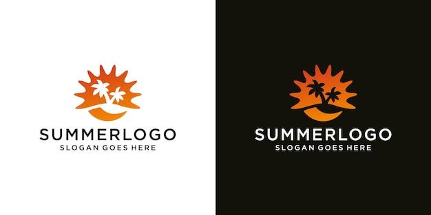 Modelo de design de ícone moderno de logotipo de verão