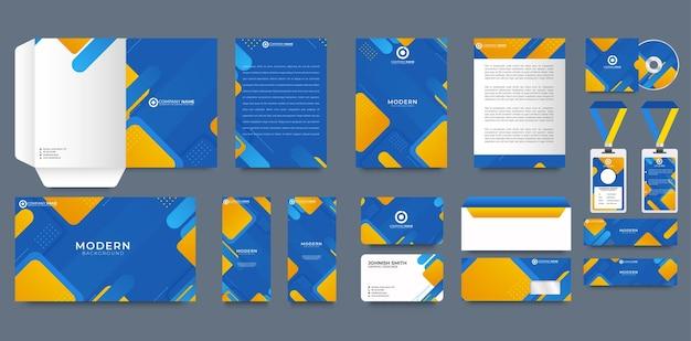 Modelo de design de identidade corporativa azul com fundo geométrico abstrato