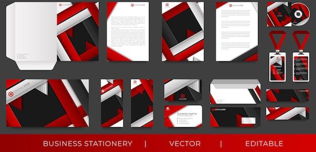 Modelo de design de identidade corporativa com abstrato vermelho