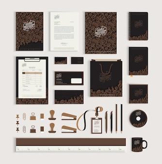 Modelo de design de identidade corporativa com grãos de café