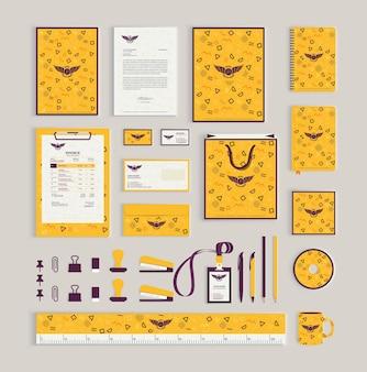 Modelo de design de identidade corporativa com padrão de memphis