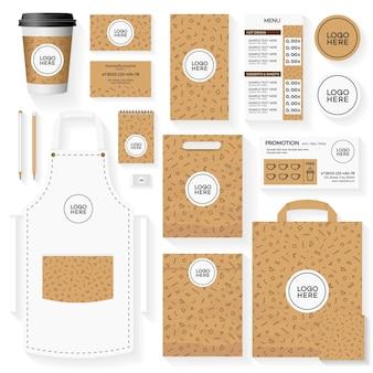 Modelo de design de identidade corporativa de cafeteria definido com padrão geométrico de memphis.