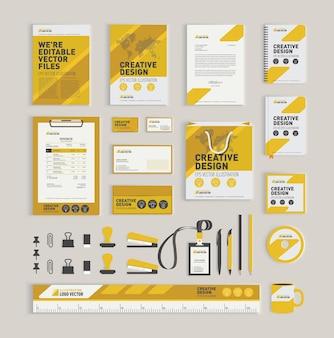 Modelo de design de identidade corporativa geométrica amarela