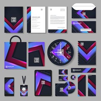 Modelo de design de identidade corporativa roxo com elementos geométricos de cores. papelaria comercial